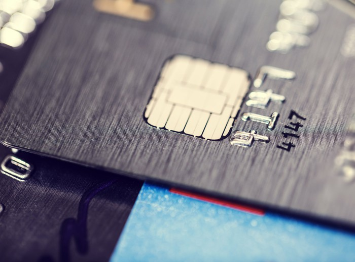 Close-up of chip in a credit card.