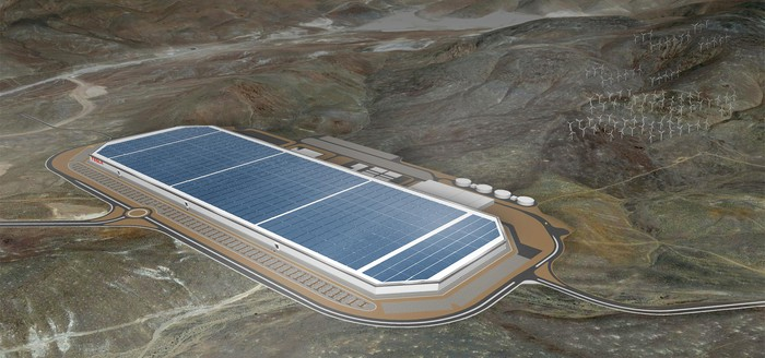Rendering of a finished version of Tesla's Gigafactory