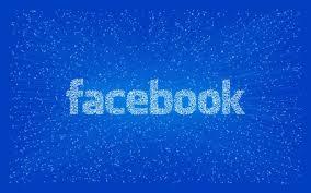 Facebook logo on blue background.