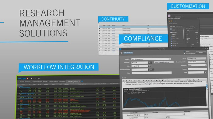FactSet suite of compliance products.