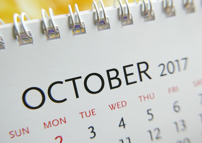 Partial view of October 2017 calendar