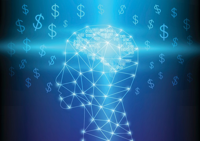 Network of lights in shape of human head surrounded by dollar signs