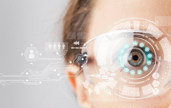 A human eye with an AR overlay.