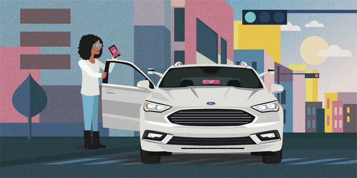 A cartoon image showing a self-driving Ford Fusion picking up a Lyft customer on a city street.