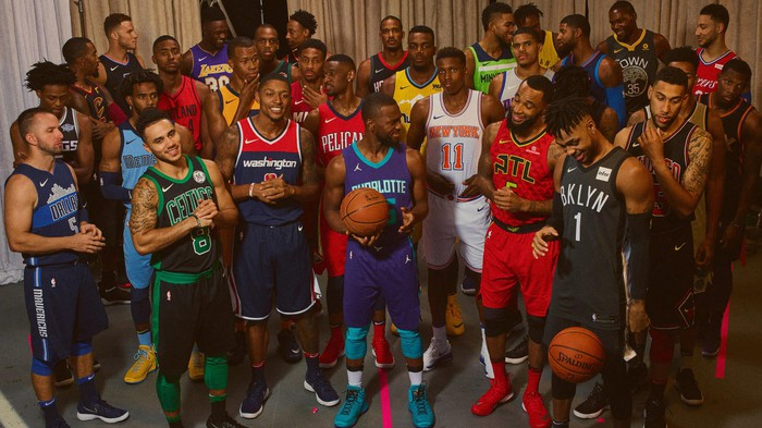 NBA players from each team show off the Statement edition of Nike's new jerseys.
