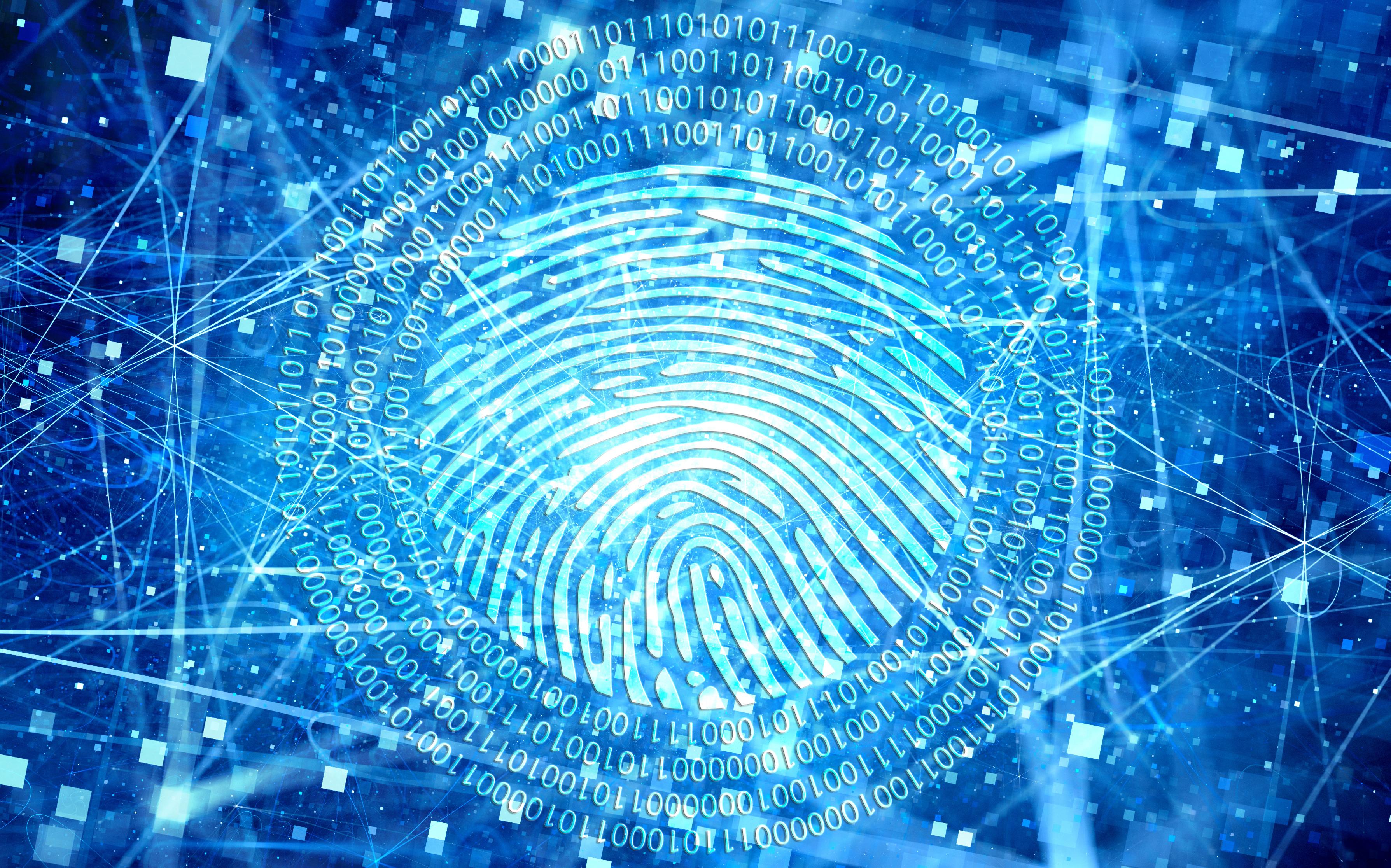 Illustration of digital fingerprint surrounding by 1s and 0s