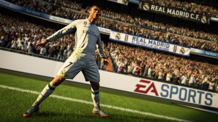 "A player celebrating in EA's ""FIFA 18""."