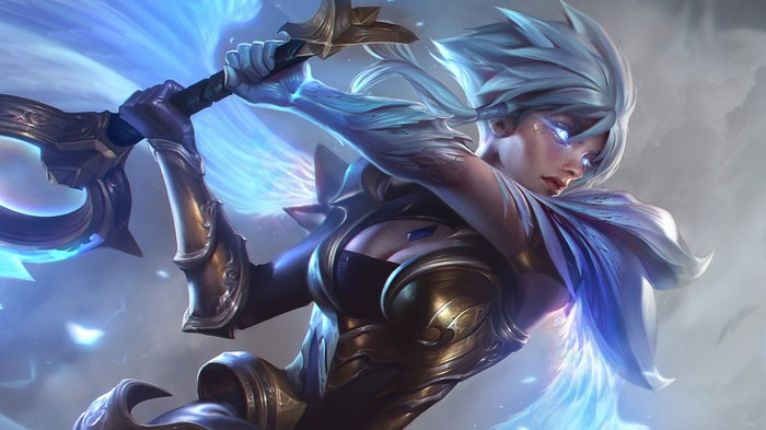 "A character from Tencent's ""League of Legends"" swinging a weapon."
