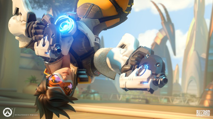 "A character from Activision Blizzard's ""Overwatch"" flipping through the air and holding guns."