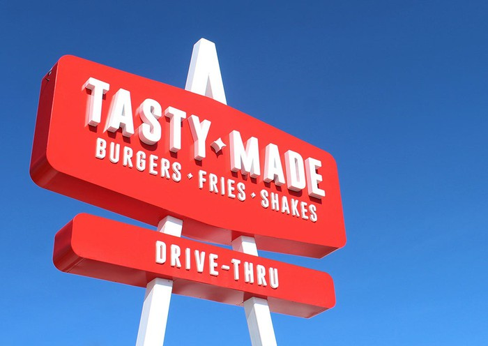The Tasty Made sign