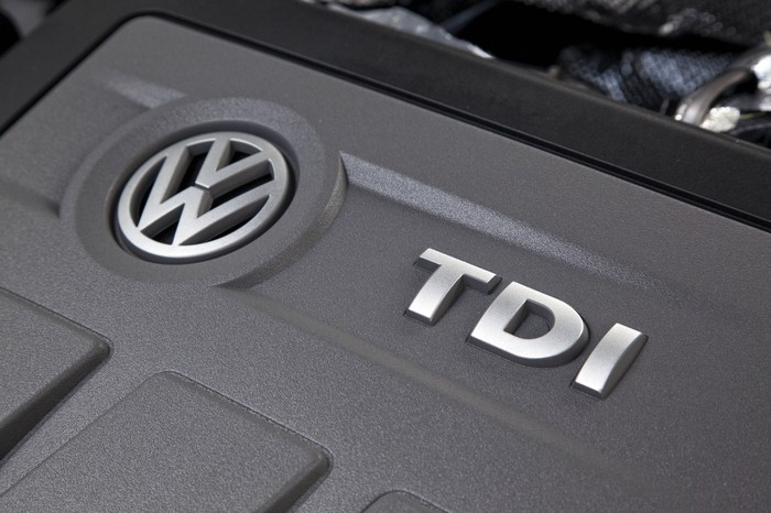 """A Volkswagen 2.0 liter """"TDI"""" turbo-diesel engine of the type implicated in its global emissions-cheating scandal."""