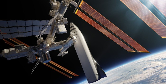 BFR rocketship docked at International Space Station