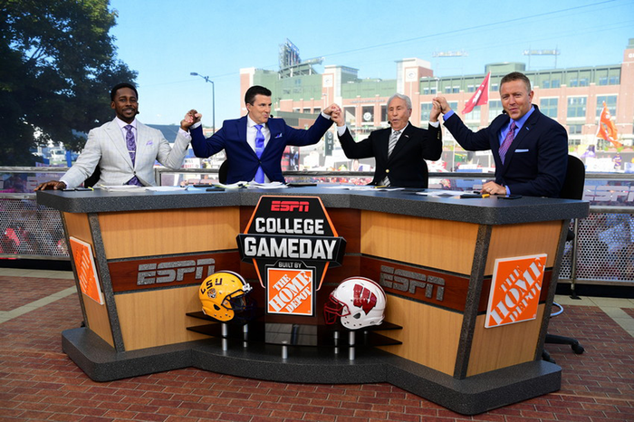 The cast of College Gameday on set.
