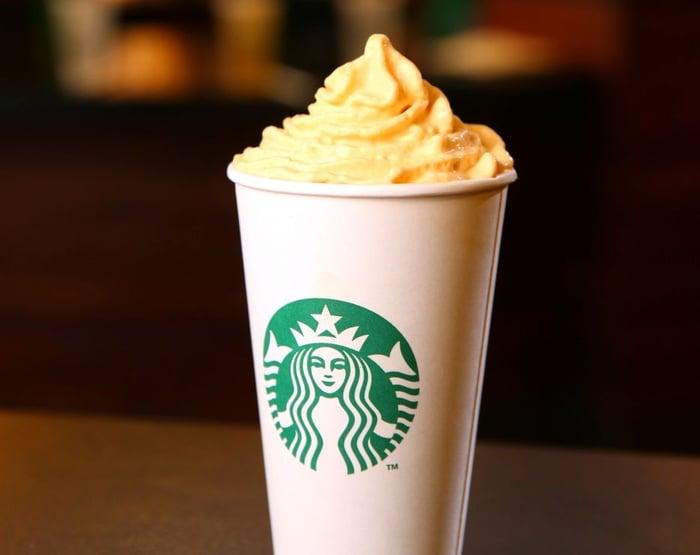 A pumpkin spice latte from Starbucks.