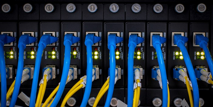 Networking switch with cables plugged in
