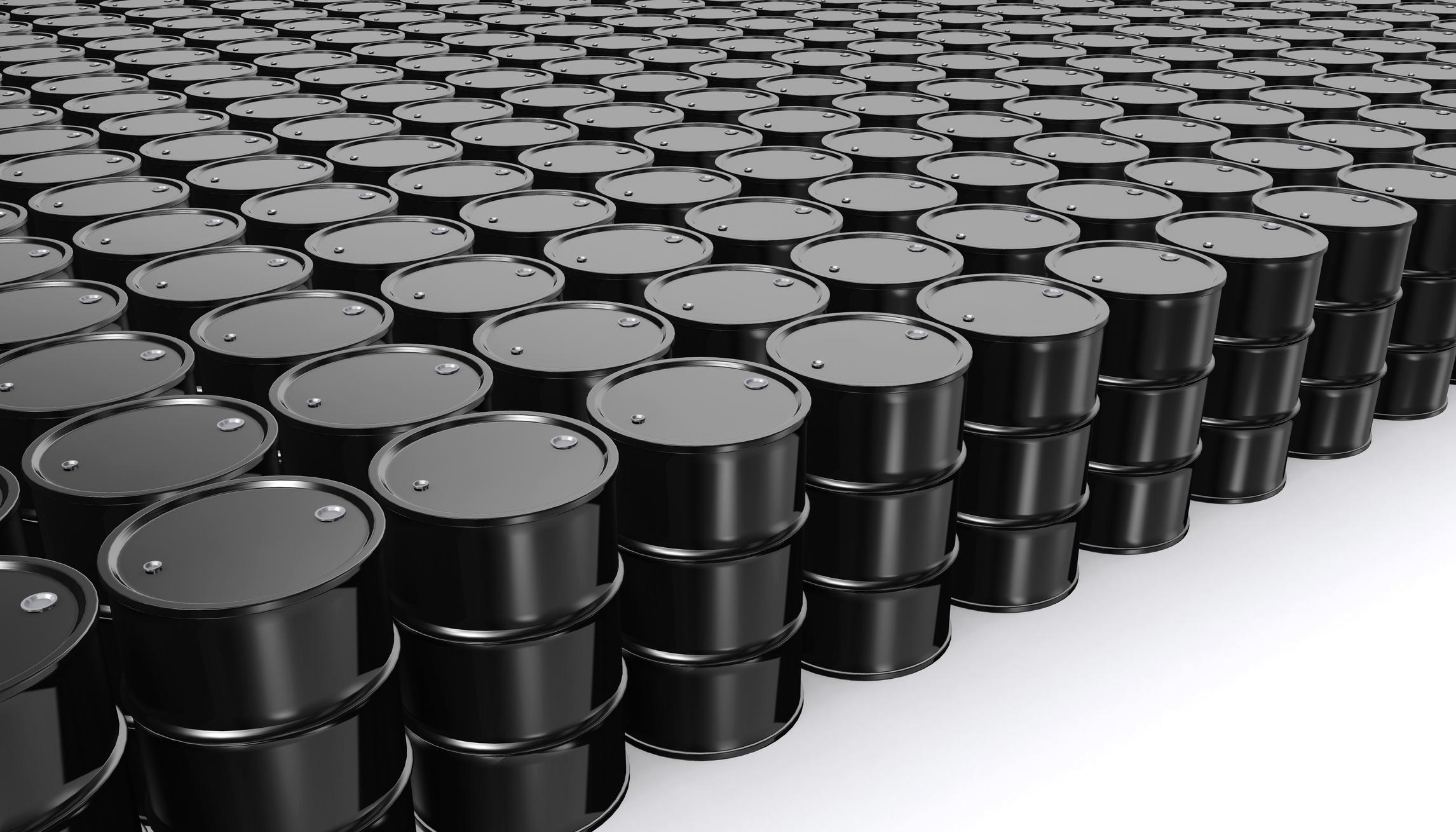 Oil barrels arranged in a grid pattern.