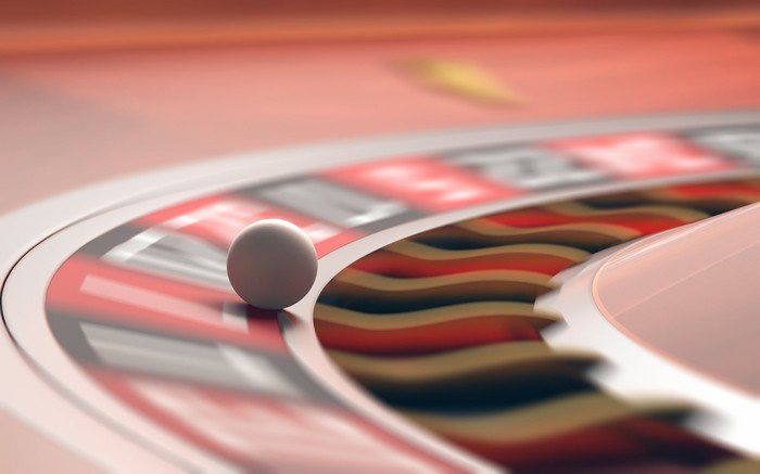Close-up on a roulette wheel in action.