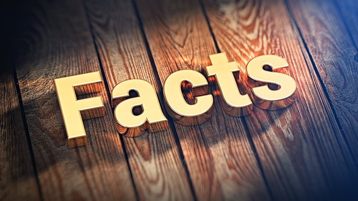 Facts cutout letters on wooden planks