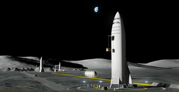 "Rendering of SpaceX ""BFR"" standing on the Moon"