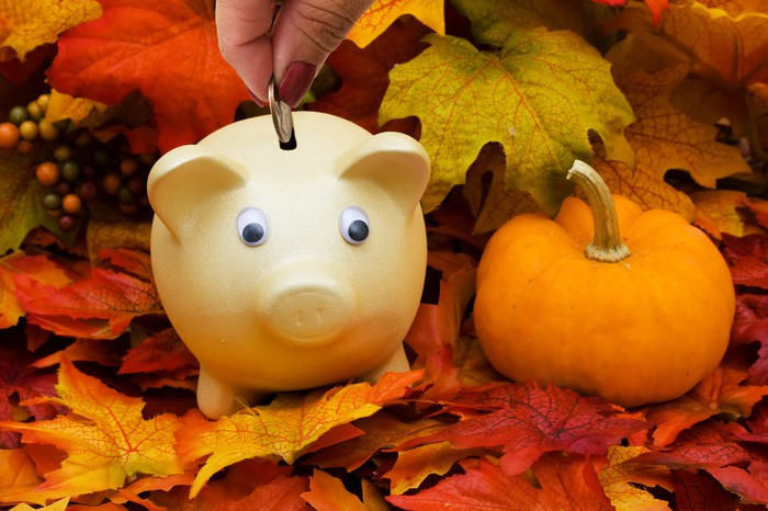 Piggy bank on top of brown leaves and pumpkin