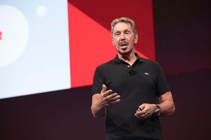 Oracle founder Larry Ellison speaking at Oracle's OpenWorld conference.