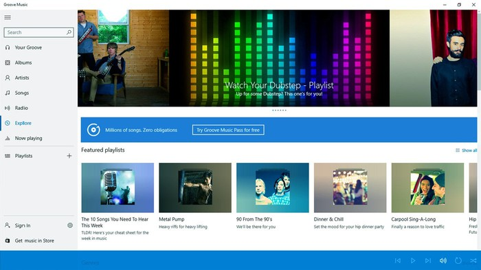 Interface of Groove Music app