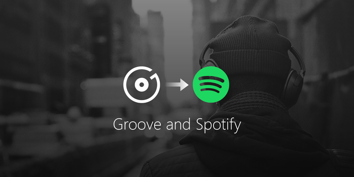 Illustration of Groove logo with an arrow pointing to Spotify logo