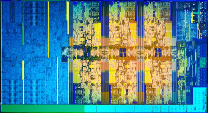 A die map of Intel's Coffee Lake processor showing six processor cores and a graphics processor embedded in a single chip.