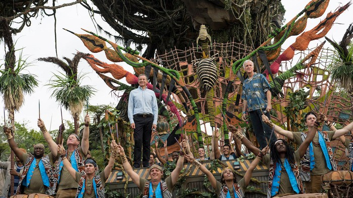 Bob Iger and James Cameron at the Grand Opening of Pandora -- The World of Avatar.
