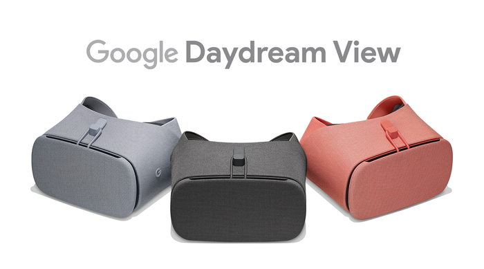 Three different colors of Google's Daydream View VR goggles.