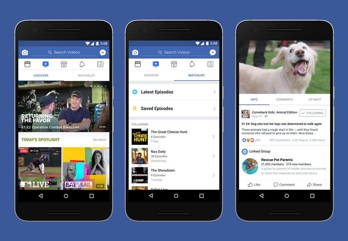 3 screenshots of Facebook Watch.
