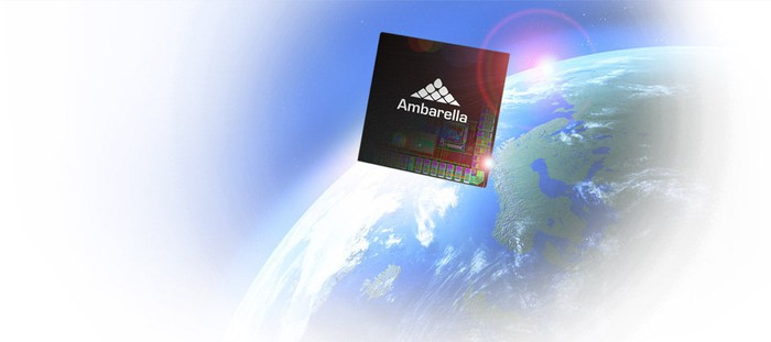An Ambarella SoC floating over the earth.