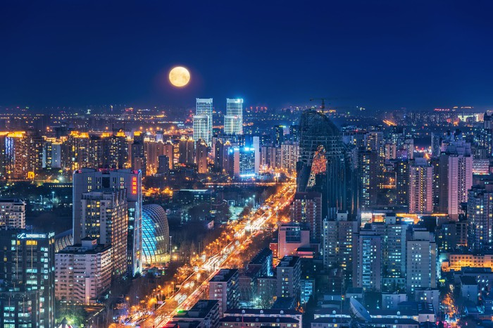 Beijing China cityscape at night.