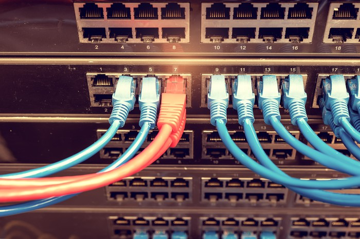 Network cables in a switch or router