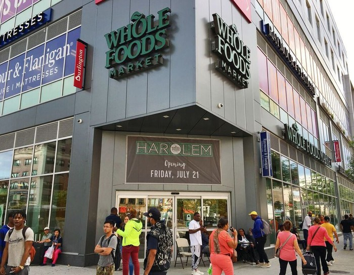 The exterior of a Whole Foods store in Harlem