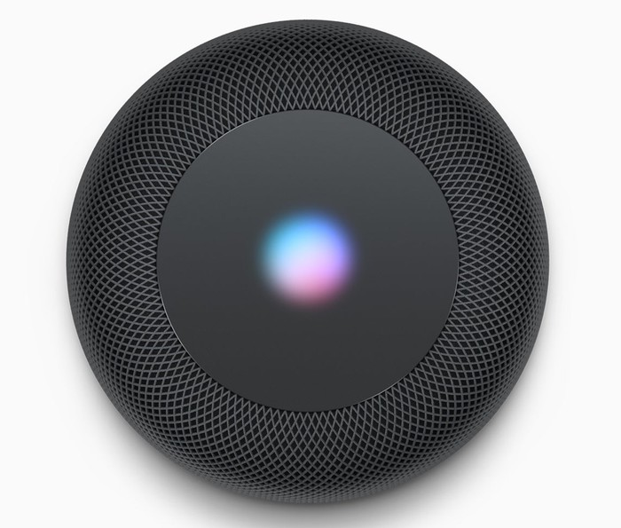Image of the top of Apple's HomePod speaker.