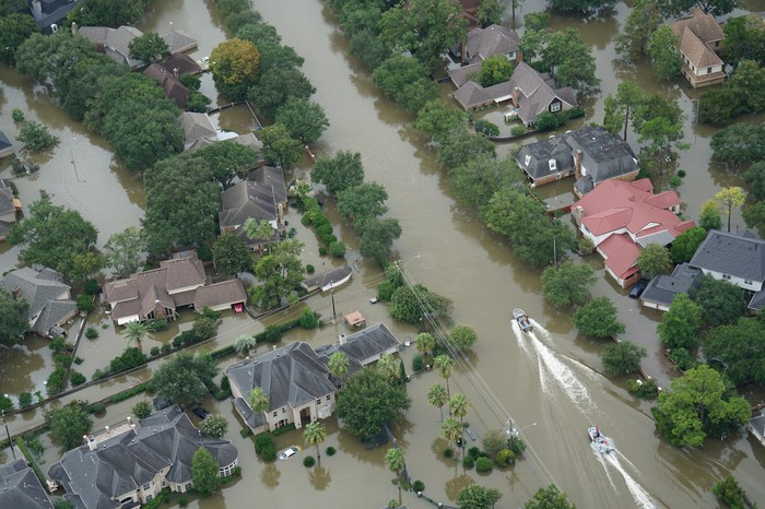 An aerial view showing flooding from Hurricane Harvey.