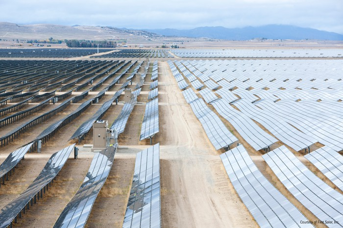 Large solar installation in the middle of a desert.