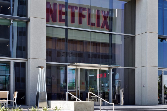 Photo outside entrance of Netflix's LA headquarters