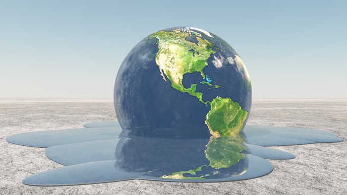 Rendering of earth melting.