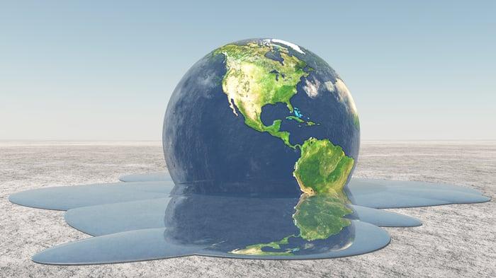 Rendering of earth melting.