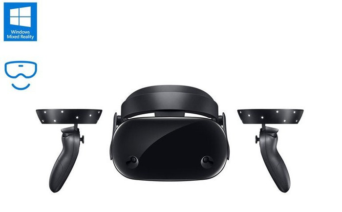 Samsung's Odyssey headset and controllers. The Windows Mixed Reality icon is in the upper left corner of the image.