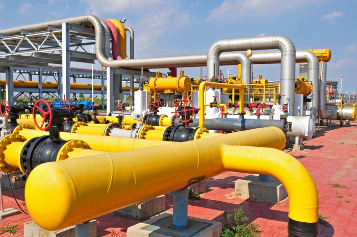 Oil field pipelines and valves.