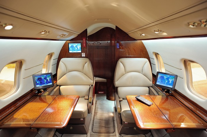 a business jet cabin interior