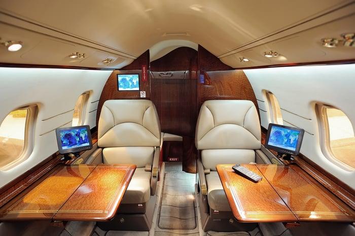 a business jet cabin interior