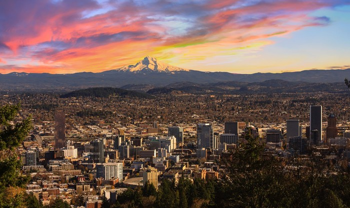 Portland skyline with Mt. Hood in background.