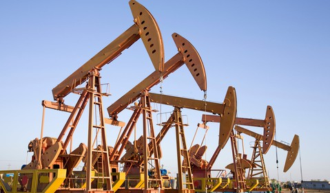 Getty Row of Oil Pumps
