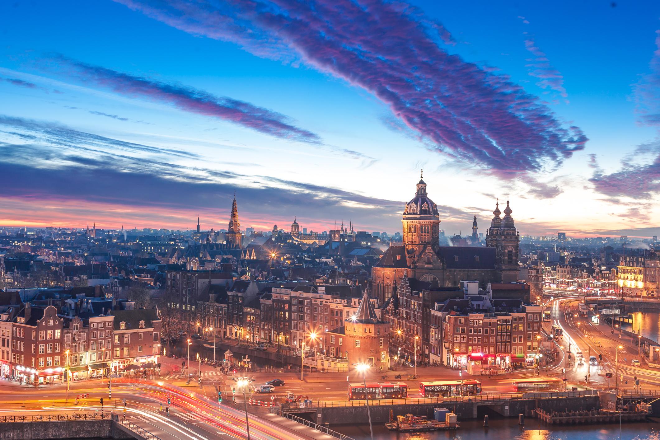 Amsterdam skyline at night.