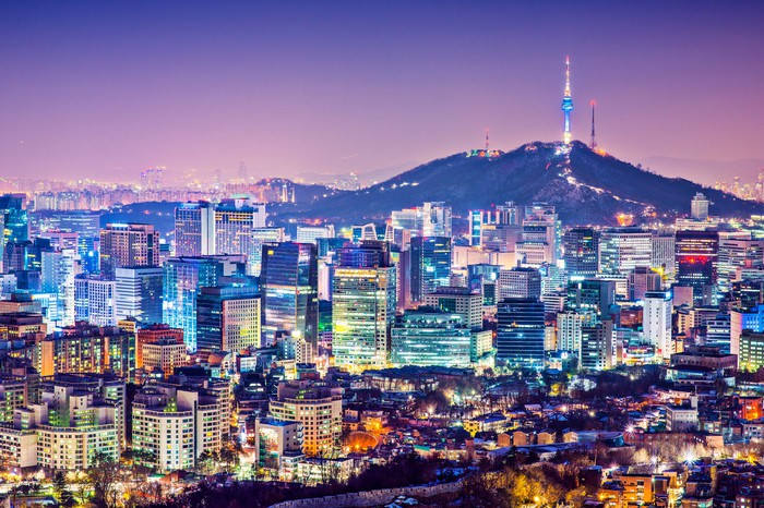Seoul skyline at night.