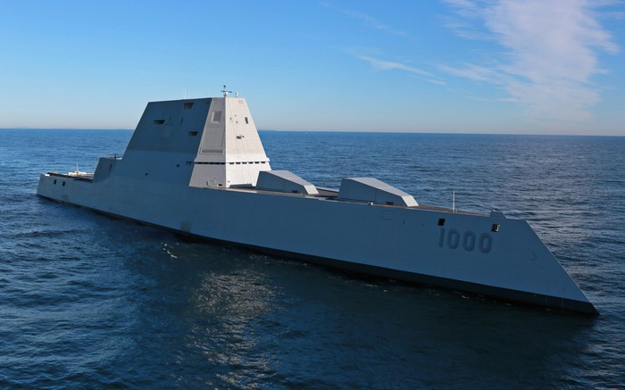 The USS Zumwalt at sea.